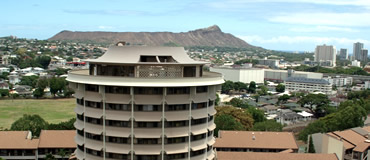 partial view of Diamond Head and the Mānoa campus