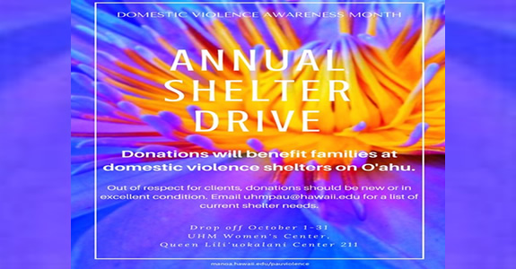 October is Domestic Violence Awareness Month.  The PAU Violence Program and Women's Center is coordinating their annual shelter drive through October 31, 2016. Learn more…