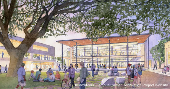 Architectural Rendering: View from Courtyard: Campus Center Renovation and Expansion, Phase IIB Recreational Center