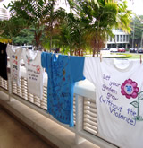 t-shirts displayed at The Clothesline Event at UH Mānoa